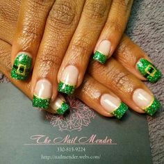 """Green glitter acrylic french mani tips with gold stripe and """"buttons"""". Accent nail  leprechaun belly. #nailmender"""