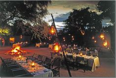 Dinner is ready in the Bome at the Sabi Sabi game reserve African Animals, African Safari, Downtown St Petersburg, South Africa Tours, Vintage Safari, Bush Wedding, Safari Chic, Private Games, Work With Animals