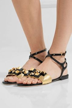 Heel measures approximately inches Gold textured-leather, black patent-leather Buckle-fastening ankle strap Made in ItalySmall to size. See Size & Fit notes. Leather Buckle, Black Patent Leather, Rainbow Sandals, Sandals For Sale, Leather Sandals, Me Too Shoes, Ankle Strap, Studs