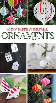 10 DIY Paper Christmas Ornaments on Love The Day papercrafts christmascrafts christmastreeideas christmasdecor diychristmas 118782508908028434 Origami Christmas Ornament, Diy Paper Christmas Tree, Paper Christmas Decorations, Family Christmas Ornaments, Paper Ornaments, Christmas Love, Beaded Ornaments, Homemade Christmas, Glass Ornaments
