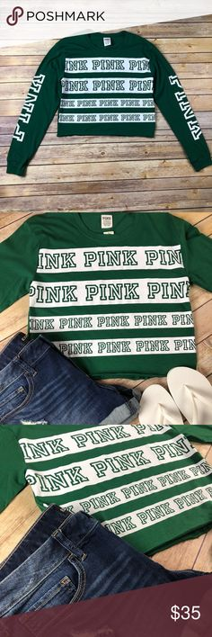 VS PINK Crop Top ☘️☘️🌈🌈 VS PINK Crop Top ☘️☘️🌈🌈   PINK PINK PINK GREEN ☘️🍀🌈🌈 ☘️ St. Patty's Day Special ☘️  Brand new with tags  Super Cute Long Sleeve Crop Top  Perfect for Shamrock Day ☘️ Loose fitting style  Multiple sizes available   🌟Bundle and Save 🌟March SALE 20% two or more VS items ☘️☘️ 🌟Sorry No trades PINK Victoria's Secret Tops Crop Tops