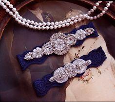 navy blue wedding garter bridal garter lace garter vintage