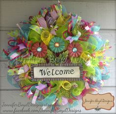Welcome Deco Mesh Wreath perfect for Spring AND Summer,by Jennifer Boyd Designs. $95.00, via Etsy.  Find me on Facebook and Etsy! www.facebook.com/JenniferBoydDesigns JenniferBoydDesigns.etsy.com