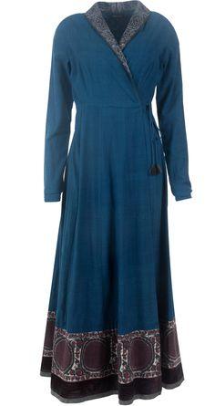 Indigo blue khadi angrakha style overlap dress