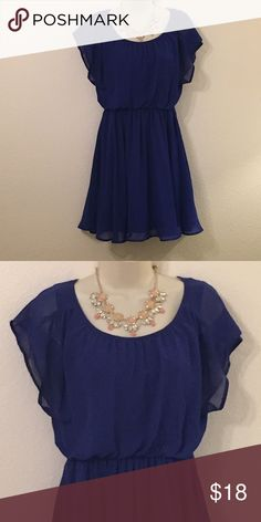 Royal Blue Chiffon Dress Loose fitting chiffon dress with synching at waist.  Necklace is not for sale Lush Dresses