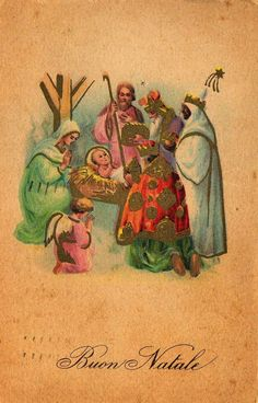 Vintage Miss Jane Christmas Nativity Card ~ Peach-Orange Background