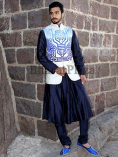 Captivating navy blue color crepe silk #Anarkali comes with matching churidar. Item Code: SKHH017LJ http://www.bharatplaza.com/new-arrivals/mens-anarkali.html