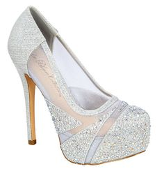 01f40a50e15b Rhinestones Mesh High Heel Close Toe Bridal Wedding Prom Pump Shoes     You  can find out more details at the link of the image.