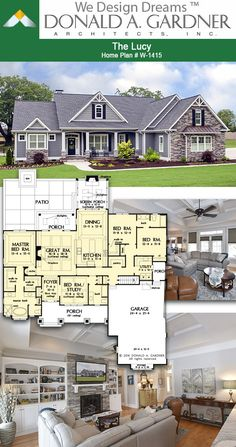 Lucy - House Plan 1415 Great room of The Lucy house plan 2239 sq ft House Plans One Story, Family House Plans, Country House Plans, Dream House Plans, Small House Plans, Southern House Plans, Ranch Home Floor Plans, Open Floor House Plans, Farmhouse Floor Plans