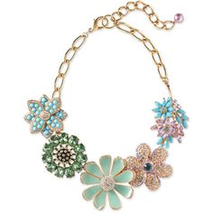 Sequin Crystal & Enamel Floral Necklace (1.290 ARS) ❤ liked on Polyvore featuring jewelry, necklaces, accessories, fillers, gioielli, women, flower jewelry, crystal jewelry, flower necklace ve floral necklace