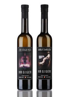 Limited HR Giger Absinthe Bottles  Get now you own limited HR Giger Absinthe Zeitgeist or Wolfmilch  We have only 500 limited 50cl bottles from each product. The bottles are numbered on the back label.  www.absinthe-hrgiger.com Hr Giger, Life Form, Old Recipes, Distillery, Red Wine, The Creator, Wave, Alcoholic Drinks, Bottles