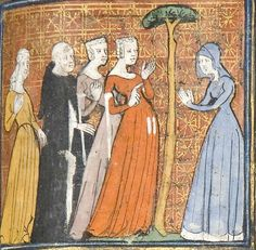 Le Roman de la Rose (University of Chicago Library ), c. 1365 (slits in front skirt for pockets underneath? Medieval Costume, Medieval Dress, Medieval World, Medieval Art, Medieval Fashion, Medieval Clothing, Medieval Manuscript, Illuminated Manuscript, Belle Epoque