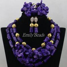 2016 Latest African Coral BeadsJewelry Set for Women Purple Nigerian Wedding Bridal Necklace Jewelry Set Free Shipping CJ492