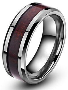 8mm Mahogany Wood Inlay Men's Tungsten Ring
