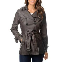 Hawke & Co Women's Dark Taupe Leatherette Grommet Trench Coat (Dark Taupe