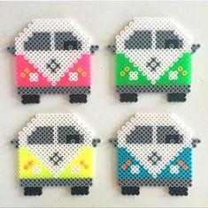 VW van rainbow wall hama perler beads by mitkrearum Perler Bead Designs, Easy Perler Bead Patterns, Melty Bead Patterns, Hama Beads Design, Perler Bead Templates, Diy Perler Beads, Perler Bead Art, Beading Patterns, Loom Patterns