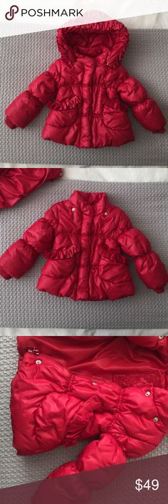 Luxury brand girls puffer jacket Super cute and warm puffer jacket with zipper and detachable hood. Gently loved. There are some rhinestones missing in the hood but that can easily be fixed. Otherwise in excellent condition. MonnaLisa Jackets & Coats Puffers
