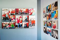 Super fun and colorful layout for a photo wall display! {Wall Decor | Photo Display Idea} {Home Decor}