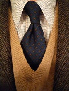 J. Press Harris Tweed jacket, Brookscloth brown & blue tattersall shirt, Chipp² madder tie, and an old Huntington lambswool sweater.