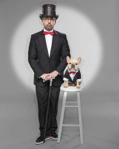 Steve Carell and a French Bulldog in Black Tie.