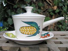 Villeroy & Boch Fresh Vegetables Primabella Ovensafe Dish Skillet Pan + saucer, lid – 1950s 1960s retro Mid Century – V + B – like…