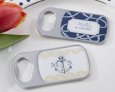Let your guests remember your special day whenever they pop open a drink with these nautical-themed bottle openers from Kate Aspen. Designed with anchors and ropes in navy and gold to capture a mariti