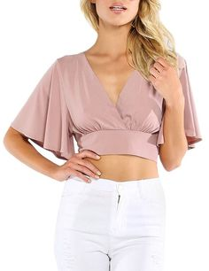 Women's Clothing, Tops & Tees, Knits & Tees, Women's Sexy Deep V Neck Cross Wrap Slim Fit Crop Tops - Pink - C812IDVPG3Z #women #fashion #clothing #style #outfits #Knits & Tees #Women's Clothing, Tops & Tees, Knits & Tees