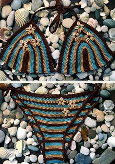 Must-Have Crochet Items for Surfers Terrific striped crochet bikini- ooooo! For when I lose a little bit more weight! For when I lose a little bit more weight! Beau Crochet, Pull Crochet, Mode Crochet, Irish Crochet, Crochet Style, Lingerie Crochet, Crochet Bra, Crochet Woman, Crochet Clothes