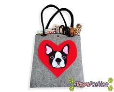 Boston Terrier Felt Tote. Handmade Shoulder Bag. Long Handles. Dog Design. Everyday use. 4PawsFashion