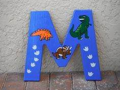 Dinosaur Wooden Letter Sample listing by SwedeArt on Etsy, $15.00