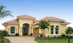 Tuscan style – Mediterranean Home Decor Luxury Mediterranean Homes, Mediterranean House Plans, Mediterranean Decor, Tuscan Homes, Mediterranean Architecture, Florida House Plans, Florida Home, Single Story Homes, Spanish Style Homes