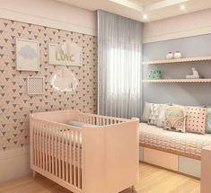 Quarto bebe cores suaves e papel de parede geométrico! {Projeto Studio Urbano}