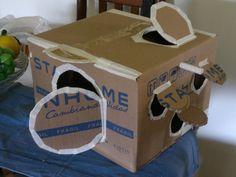 """""""Módulo de Juegos"""" para gatos elaborado con una caja pequeña de cartón. #Cat #Gato"""