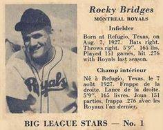 1950 Big League Stars (V362) #1 Rocky Bridges Front