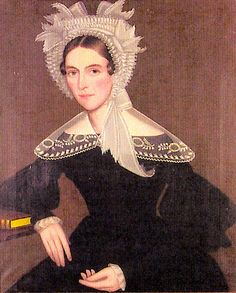 Portrait of a young woman in a white eyelet bonnet, 1836, Ammi Phillips. SEE: http://www.artnet.com/artists/ammi-phillips/past-auction-results/5
