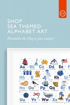Looking for Nautical Nursery Ideas? This totally gorgeous Alphabet Print is made to order for you and on printed fine art paper. It's the perfect finishing touch for your Sea Themed Nursery? You can Personalise the print by changing the flag to the country of your choice! Shop Alphabets Now! Ocean Themed Nursery, Coastal Nursery, Nautical Nursery, Alphabet Nursery, Alphabet Wall Art, Alphabet Print, Nursery Prints, Nursery Wall Art, Nursery Decor