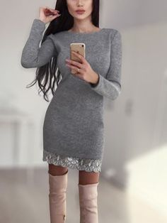 We're totally obsessing over this gorgeous mini dress! This dress features round neck, long sleeves, lace hem and teamed with some glam heels your look will be complete! Dress P, Gray Dress, Today's Fashion Trends, Womens Fashion, Mini Dresses, Women's Fashion Dresses, Fitness Fashion, Spring Fashion, Dark Grey