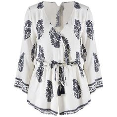 Sexy Summer Boho Lady Floral Deep V Neck Long Sleeve Playsuit Rompers... ($14) ❤ liked on Polyvore