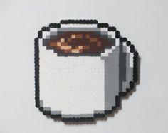Perler Bead Cup of Coffee Magnet