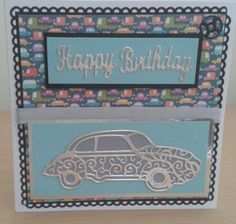 Birthday card using tattered lace classic car die