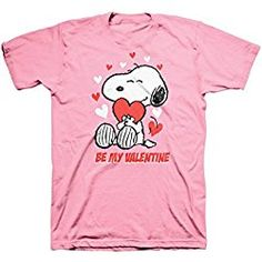Snoopy Be My Valentine Surrounded By Hearts Pink T-Shirt
