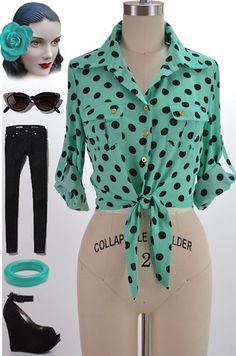 8d977870128 50s Style Mint Black Polka Dot Rockabilly Pinup Tiefront Convertible Slv  Blouse