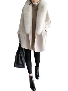 L-4XL Elegant Women Faux Fur Collar Woolen Coats