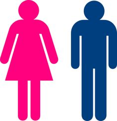 Women And Blue With Men For Use On Public Restroom Doors And Other