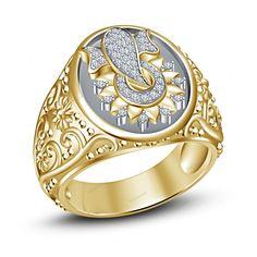 Flower Ganpati Men's Band Ring in Two Tone Plated Simulated Diamond 925 Silver #beijojewels #MensBandRing #EngagementWeddingAnniversaryPartyWear