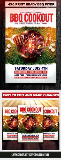 BBQ Cookout Flyer Template — Photoshop PSD #ivy #green • Available here → https://graphicriver.net/item/bbq-cookout-flyer-template/19732503?ref=pxcr