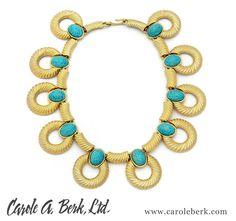 MIMI di N 80's  signed gold tone and   turquoise glass link necklace, approx. 16 inches long