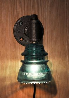 Items similar to Glass Insulator Wall Sconce Light Retro-Industrial Styling on Etsy Wall Sconce Lighting, Cool Lighting, Wall Sconces, Lighting Ideas, Insulator Lights, Glass Insulators, Sconces Living Room, Living Rooms, Deco Luminaire