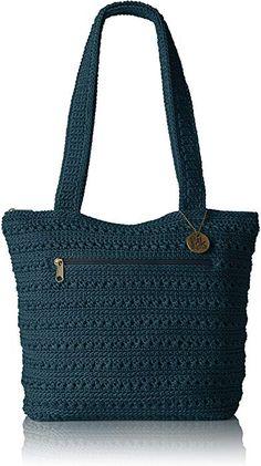 The Sak Riviera Tote: Features a fringe dangle key ring with wood beads.The Sak Riviera Tote Pockets: 2 interior slip, 1 interior zip, 1 exterior Crochet Wallet, Crochet Tote, Crochet Handbags, Crochet Purses, Mochila Crochet, Crochet Shoulder Bags, Basket Bag, Quilted Bag, Nylon Bag