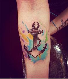 awesome watercolor style anchor tattoo on forearm for girls